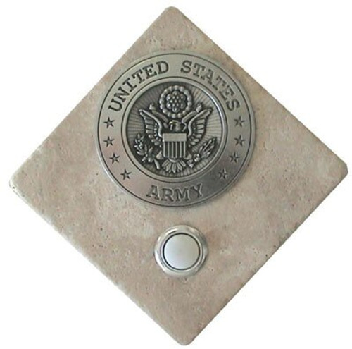 US Army Doorbell Button in Pewter on stone