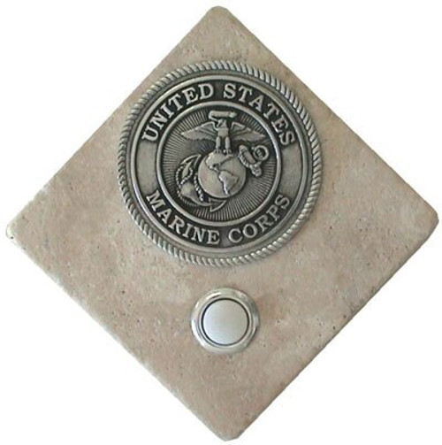 US Marine Corps Doorbell Button in Pewter on stone