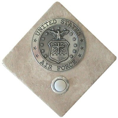 US Air Force Doorbell Button in Pewter on stone