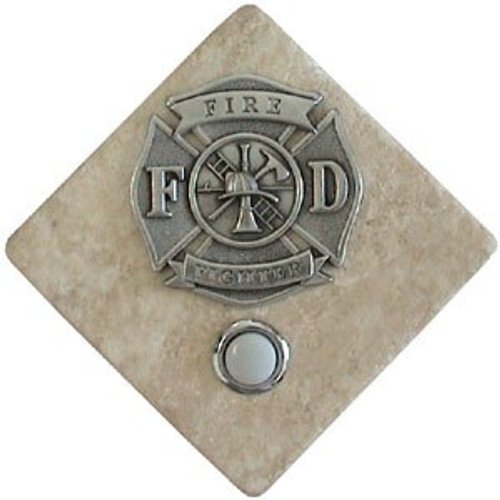 Firefighters Doorbell Button in Pewter on stone