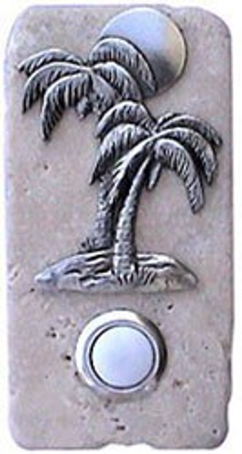 Palm Tree Doorbell Button in Pewter on Narrow Stone