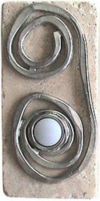 Swirl Doorbell Button in Pewter on Narrow Stone