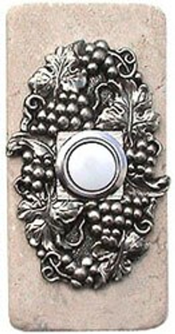 Wine Grapes Doorbell Button in Pewter on Narrow Stone