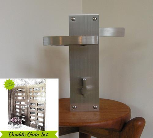 Leva Modern Stainless Steel Lockable Latch Pkg for Double Gates