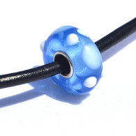 Blue and White Dot Glass Bead