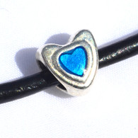 Blue Enamel Heart Bead