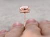 9mm Big Cushion 3 carat Morganite Engagement Ring Diamond Wedding Ring 14k Rose Gold Claw Prongs