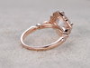 8mm Cushion Morganite Engagement Ring Diamond Wedding Ring 14k Rose Gold Floral Art Deco Antique