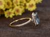 3 Carat Cushion Cut Aquamarine Diamond Engagement Ring 14k Yellow Gold Birthstone Halo Stacking Band