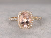 1.2 Carat Oval Morganite Engagement Ring Diamond Promise Ring 14k Yellow Gold Cushion Halo Stacking Band