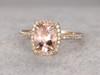 1.2 Carat Oval Morganite Engagement Ring Diamond Promise Ring 14k Yellow Gold Cushion Halo Stacking Band