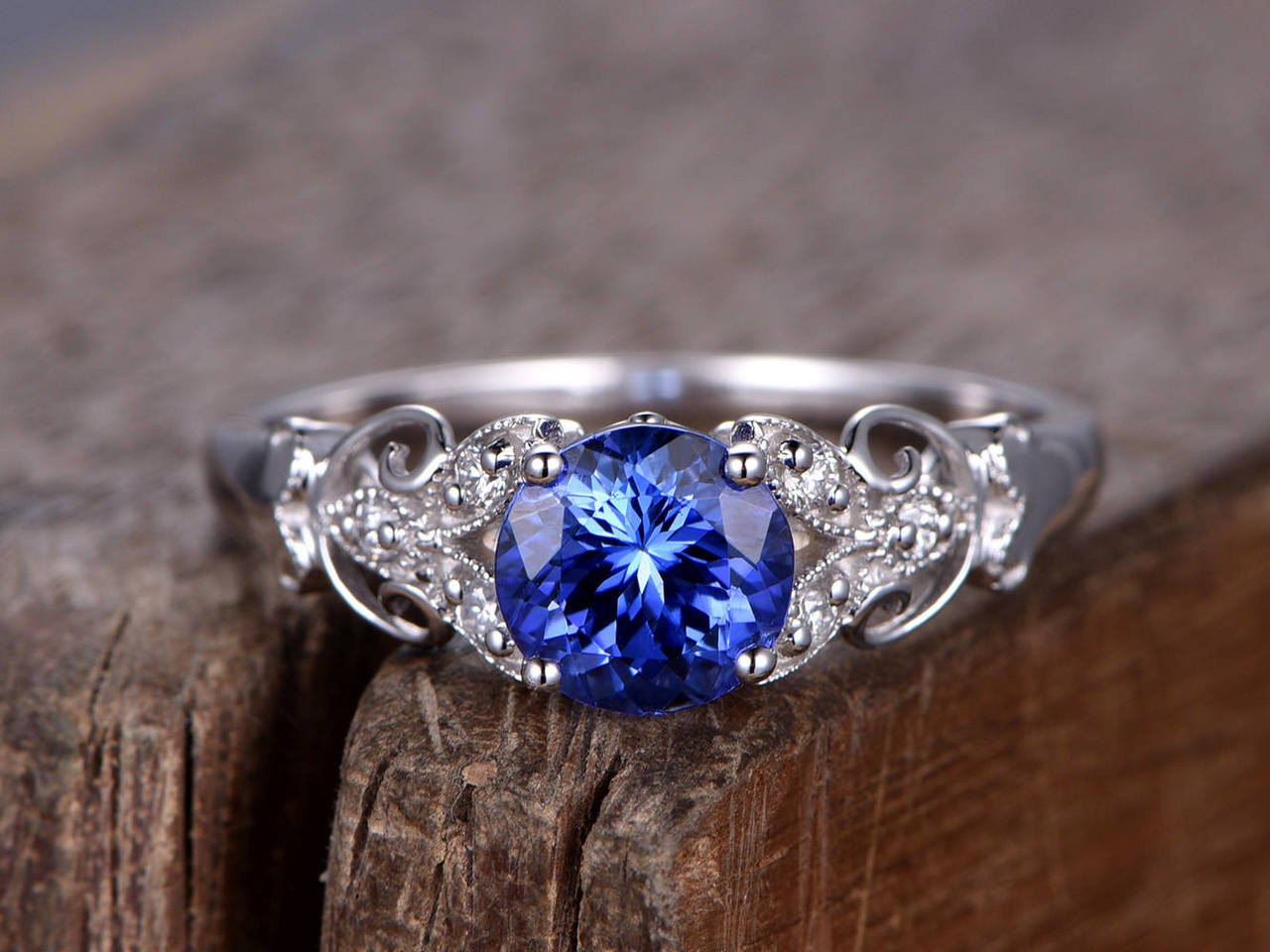 sapphire ring art deco engagement ring 7mm round created. Black Bedroom Furniture Sets. Home Design Ideas