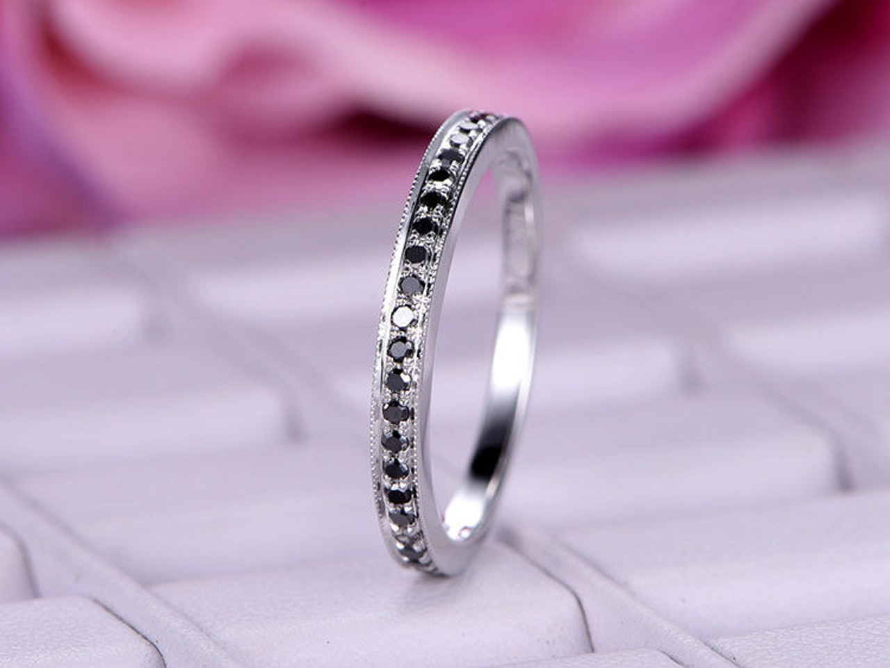 Natural black diamond matching band in 14k white goldstackable diamond wedding rings junglespirit Image collections