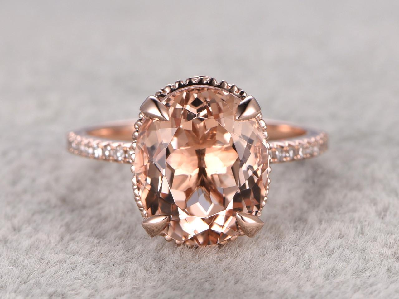 9x11mm Oval 45 Carat Morganite Engagement Ring Diamond Wedding Ring 14k Rose  Gold Filigree Retro Vintage