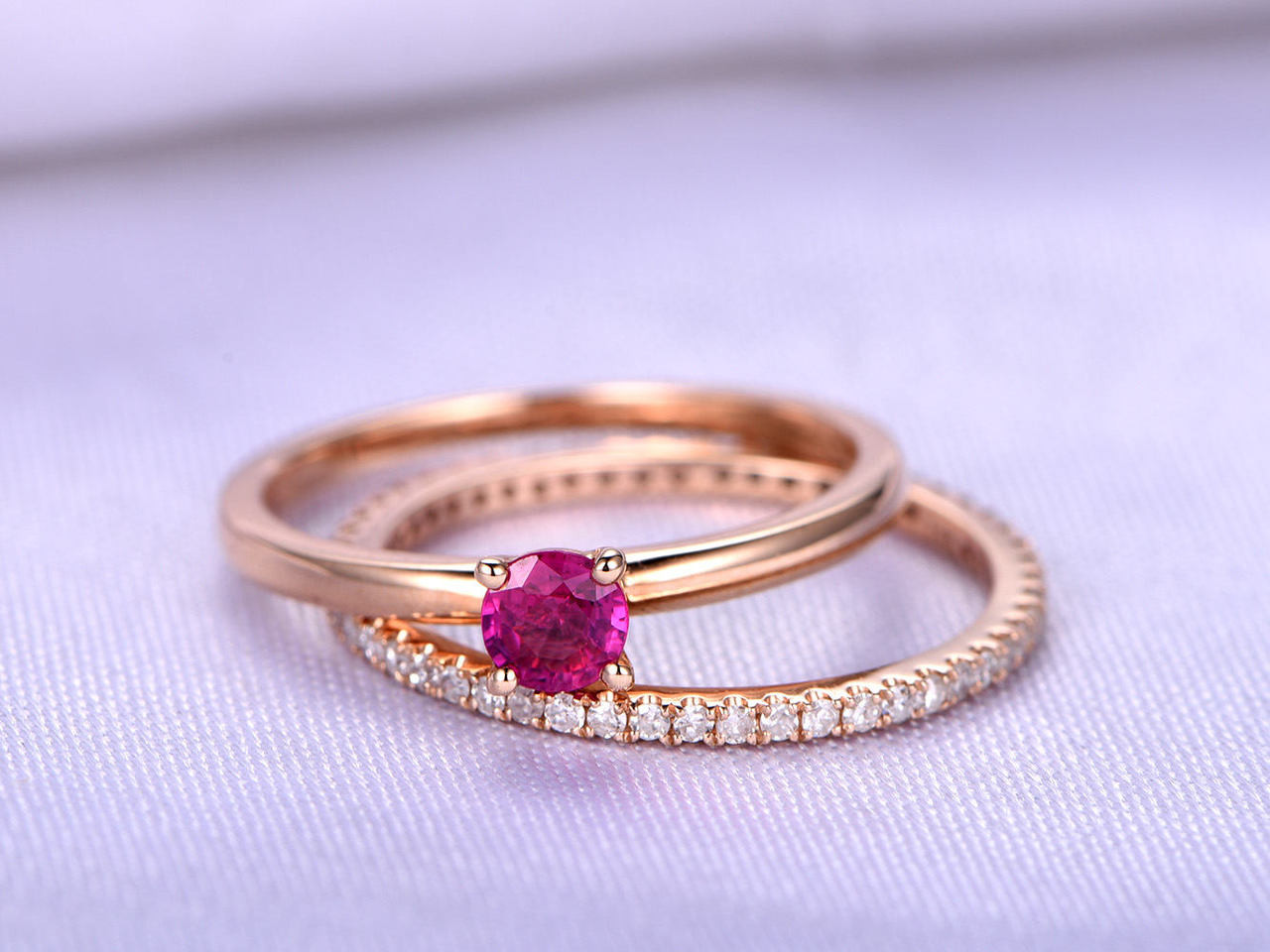 Ruby Ring RingWedding Set4mm Round Cut Natural Engagement