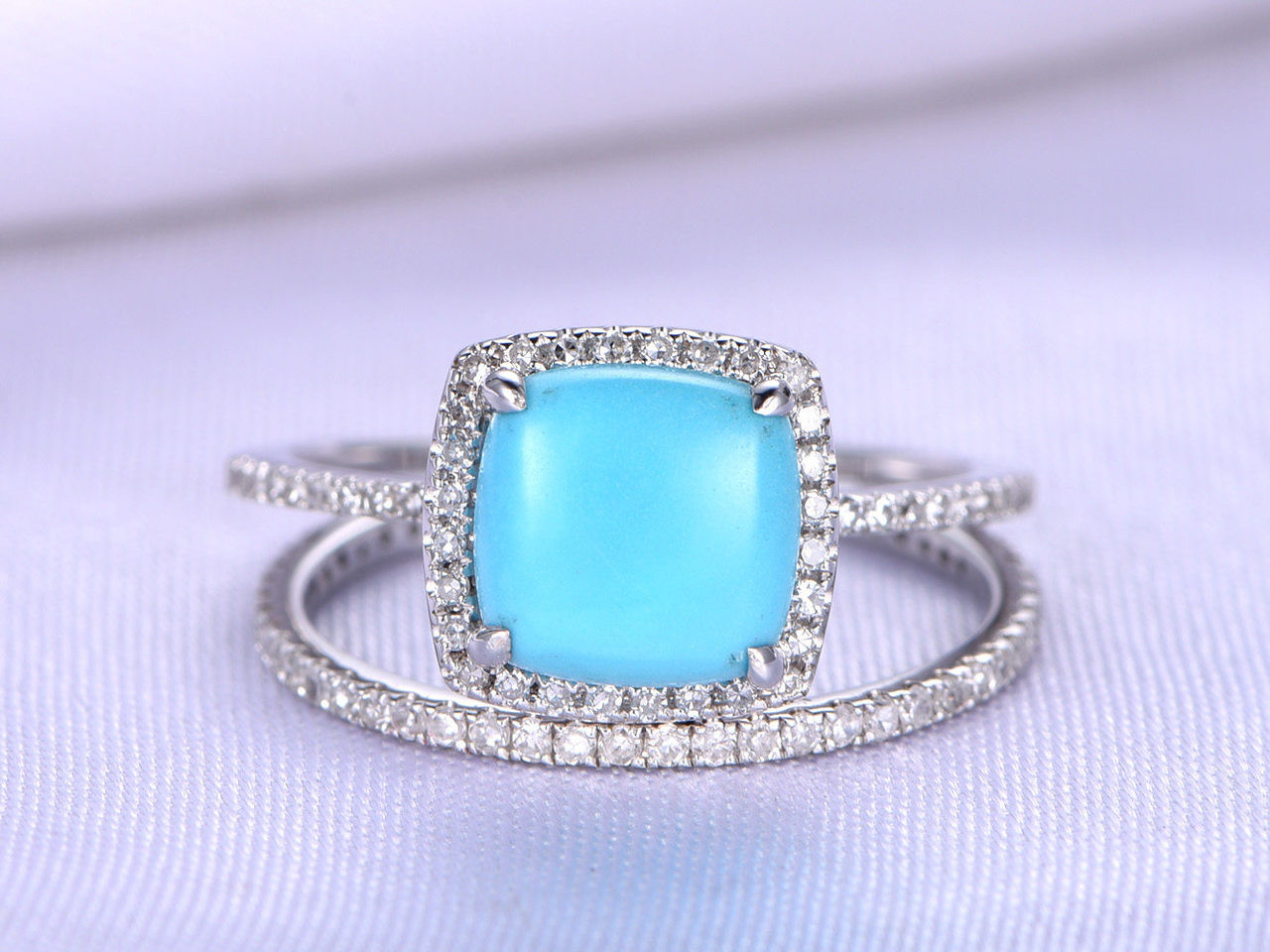 Sleeping Beauty Turquoise Ring Set,8mm Cushion Cut Turquoise ...