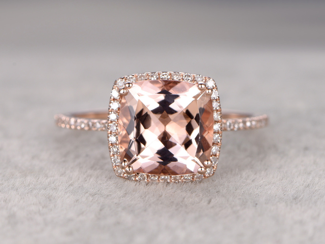 9mm Big Cushion 3 Carat Morganite Engagement Ring Diamond Wedding Ring 14k Rose  Gold Claw Prongs