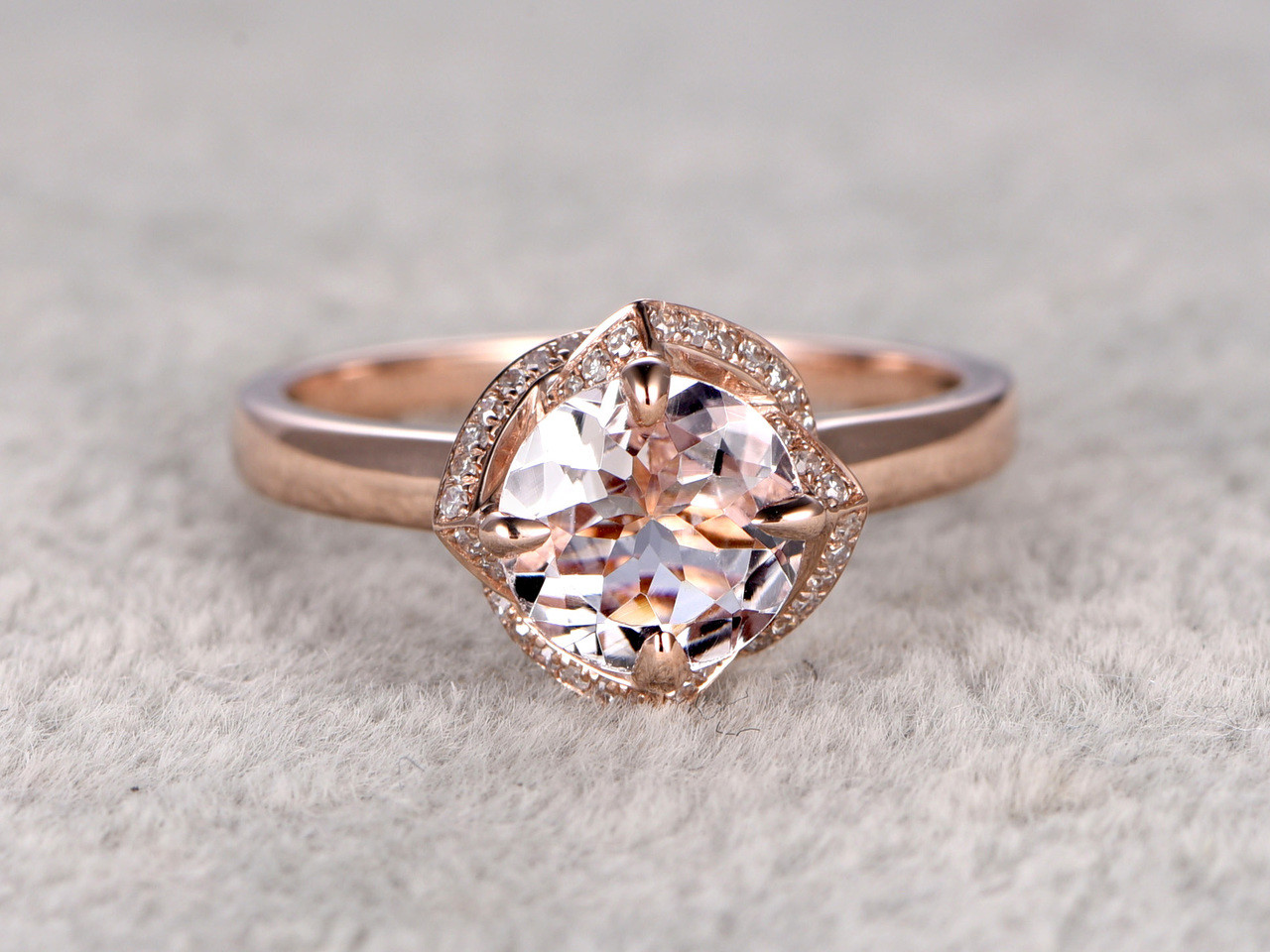 65mm Round Morganite Engagement Ring Diamond Wedding 14k Rose Gold Claw Prongs Floral