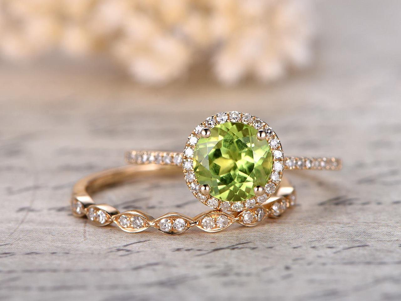 Peridot Engagement Ring Set 7mm Round Cut Bridal Sets And