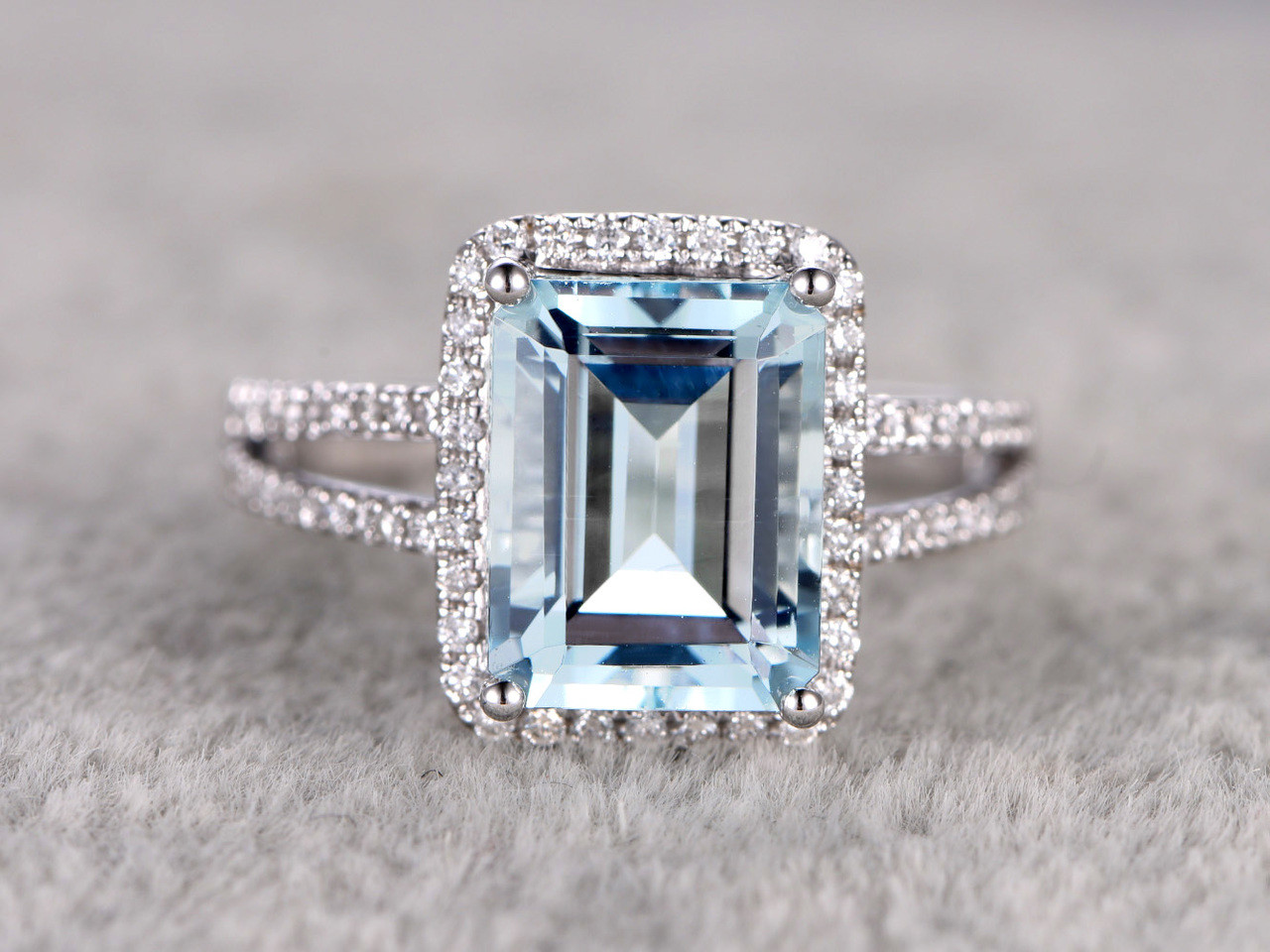 emerald cut aquamarine engagement ring 10x12mm split shake