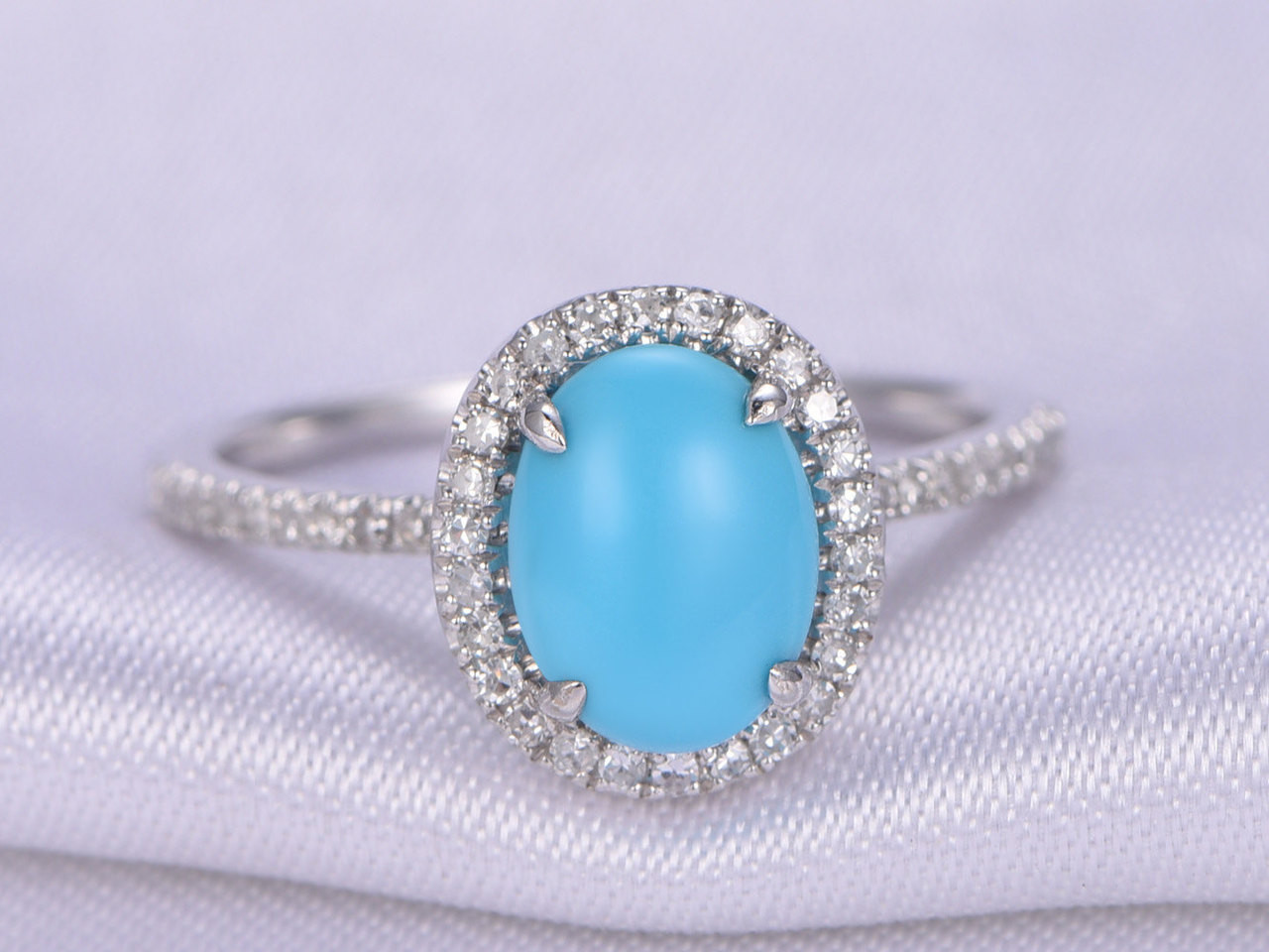 sleeping beauty turquoise ring7x9mm oval cut turquoise engagement ring14k white gold - Turquoise Wedding Ring