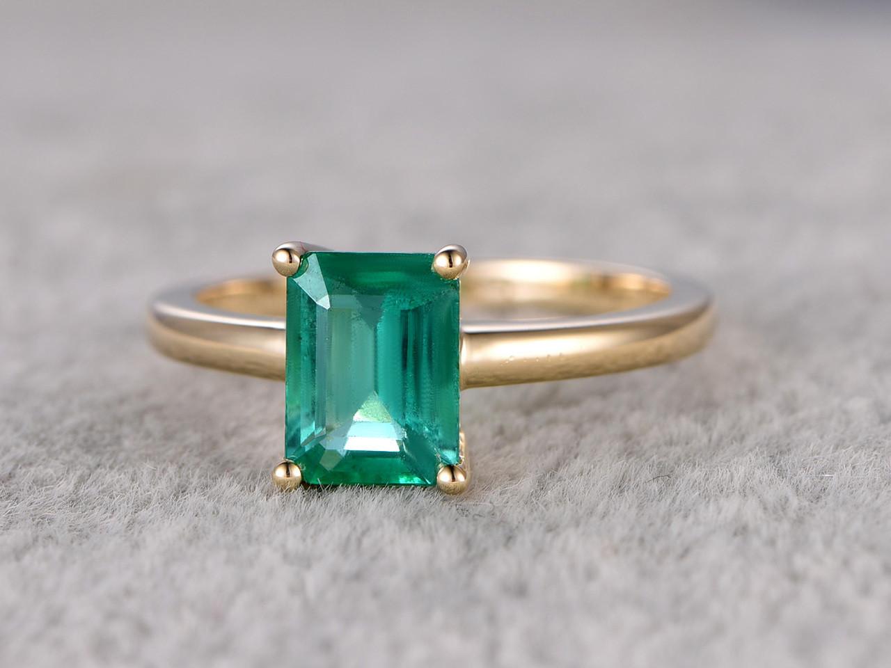 6x8mm Emerald Cut Natural Emerald Engagement Ring 14k