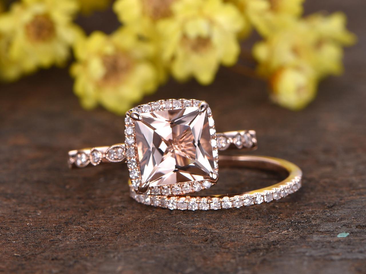 2 5 Carat Morganite Bridal Set 14k Rose Gold Diamond