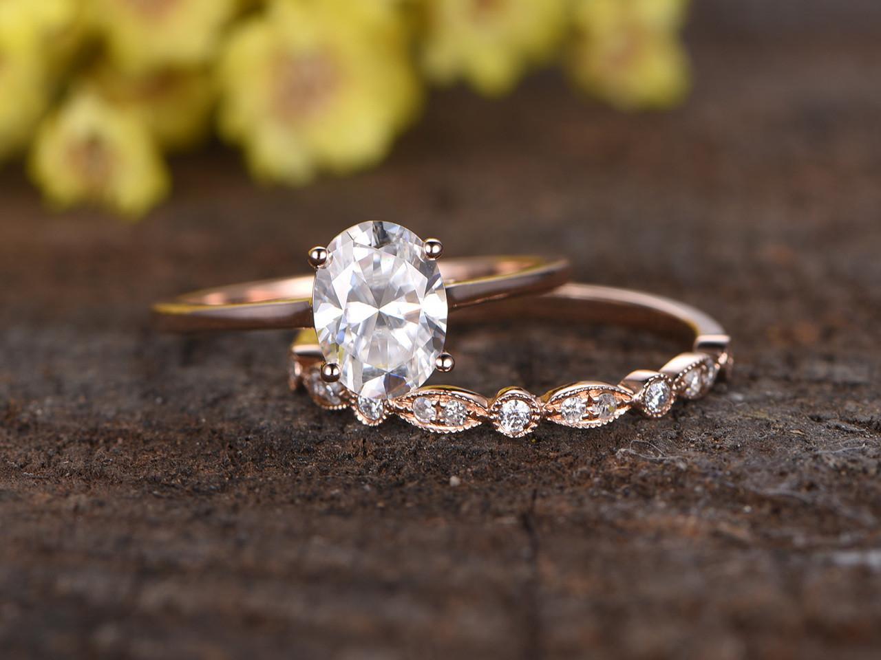 15 Carat Moissanite Solitaire Engagement Ring Set Diamond Wedding Band 14k  White Gold Art Deco Milgrain