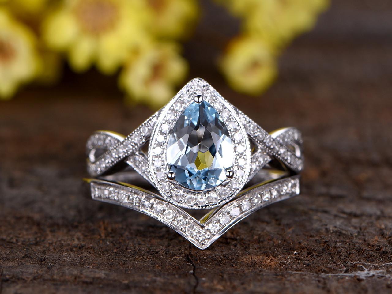 1.2 Carat Oval Aquamarine Bridal Set Diamond Wedding Ring 14k ...