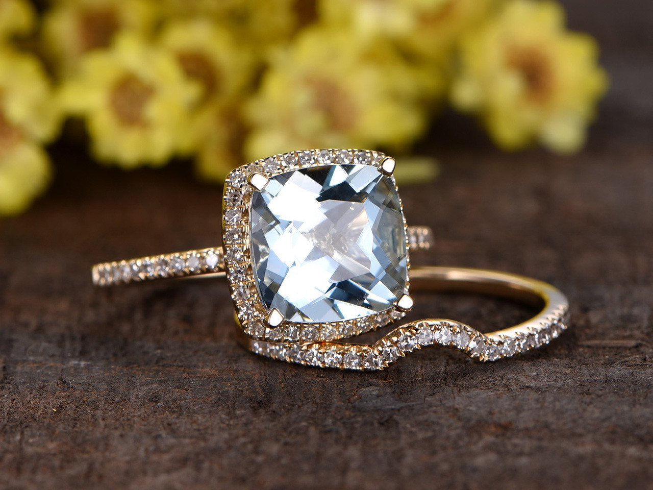 3 Carat Cushion Cut Aquamarine Bridal Set Diamond Wedding Ring 14k Yellow  Gold Thin Pave Curve