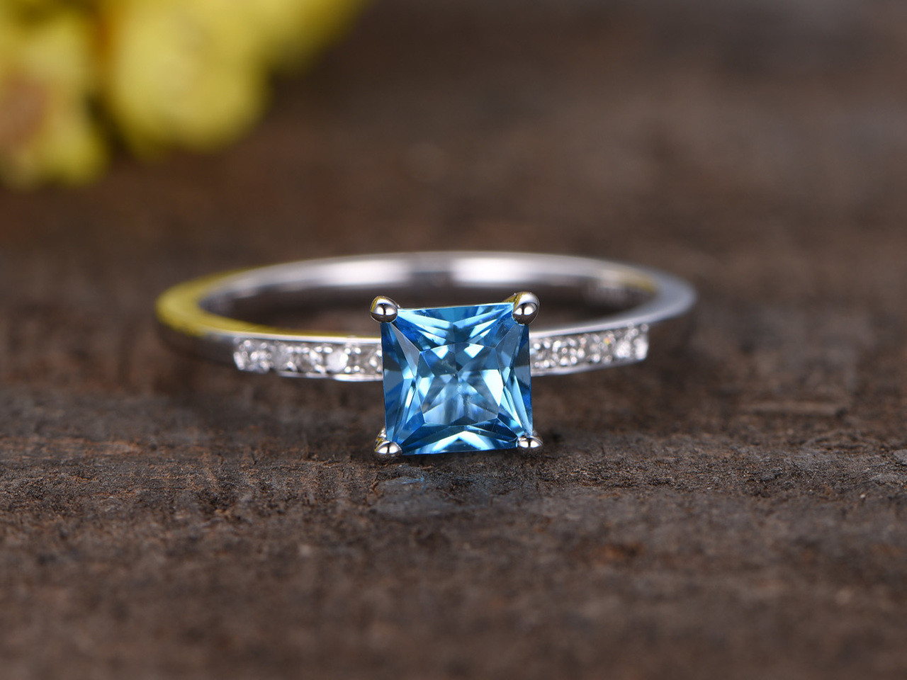 5mm Princes Cut Swiss Blue Topaz Engagement Ring With