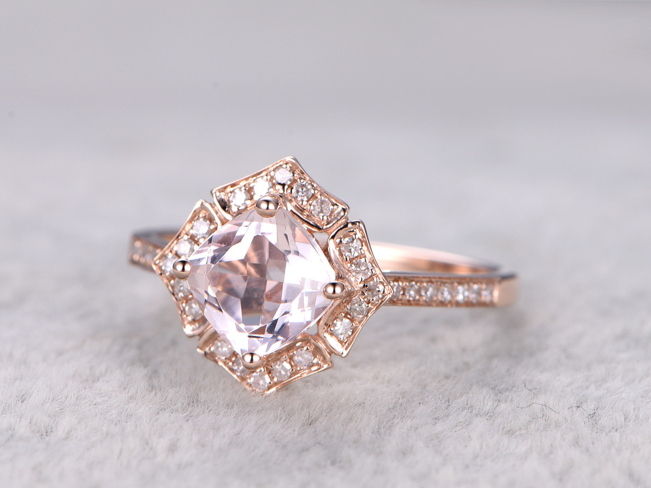 13 Carat Cushion Cut Morganite Engagement Ring Diamond Promise Ring 14k  Rose Gold Art Deco Flower
