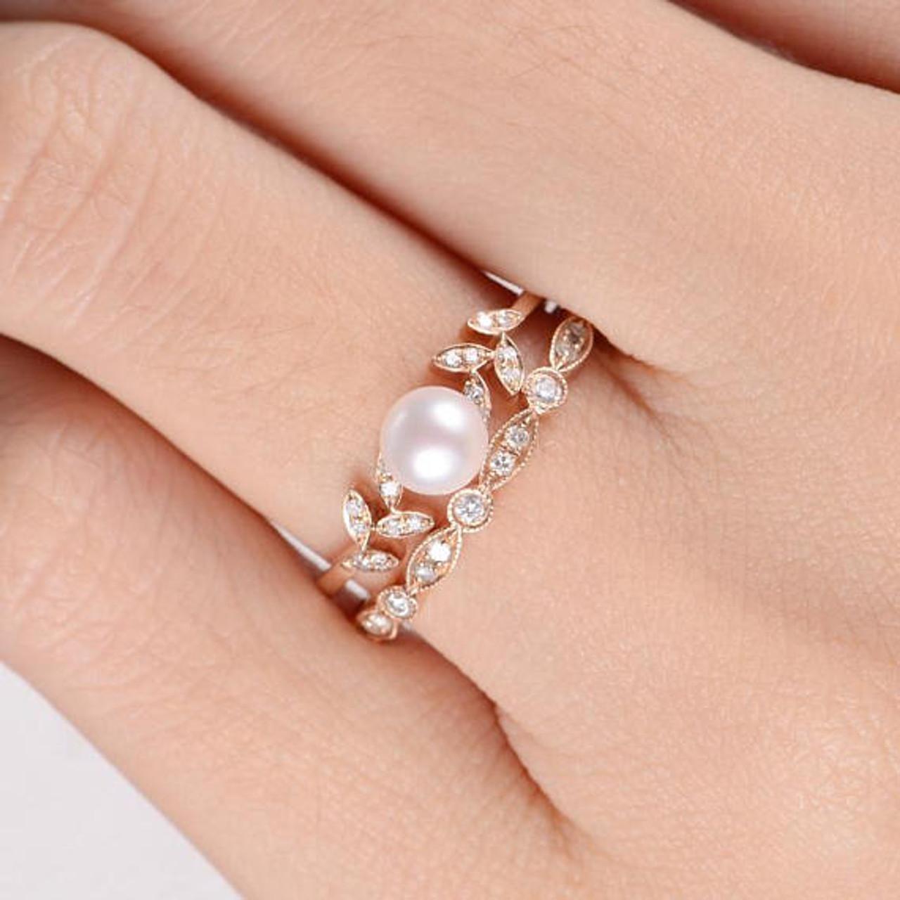 Pearl rose gold engagement ring set flower bridal ring diamond pearl rings junglespirit Choice Image