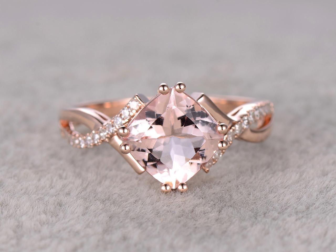 24 carat cushion cut morganite engagement ring diamond promise ring 14k rose gold split shank infinity - Morganite Wedding Rings