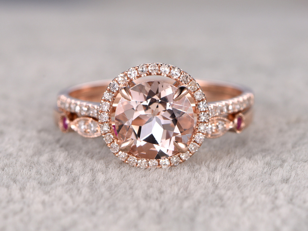 18 carat round morganite wedding set diamond bridal ring 14k rose gold ruby art deco curved - Morganite Wedding Ring