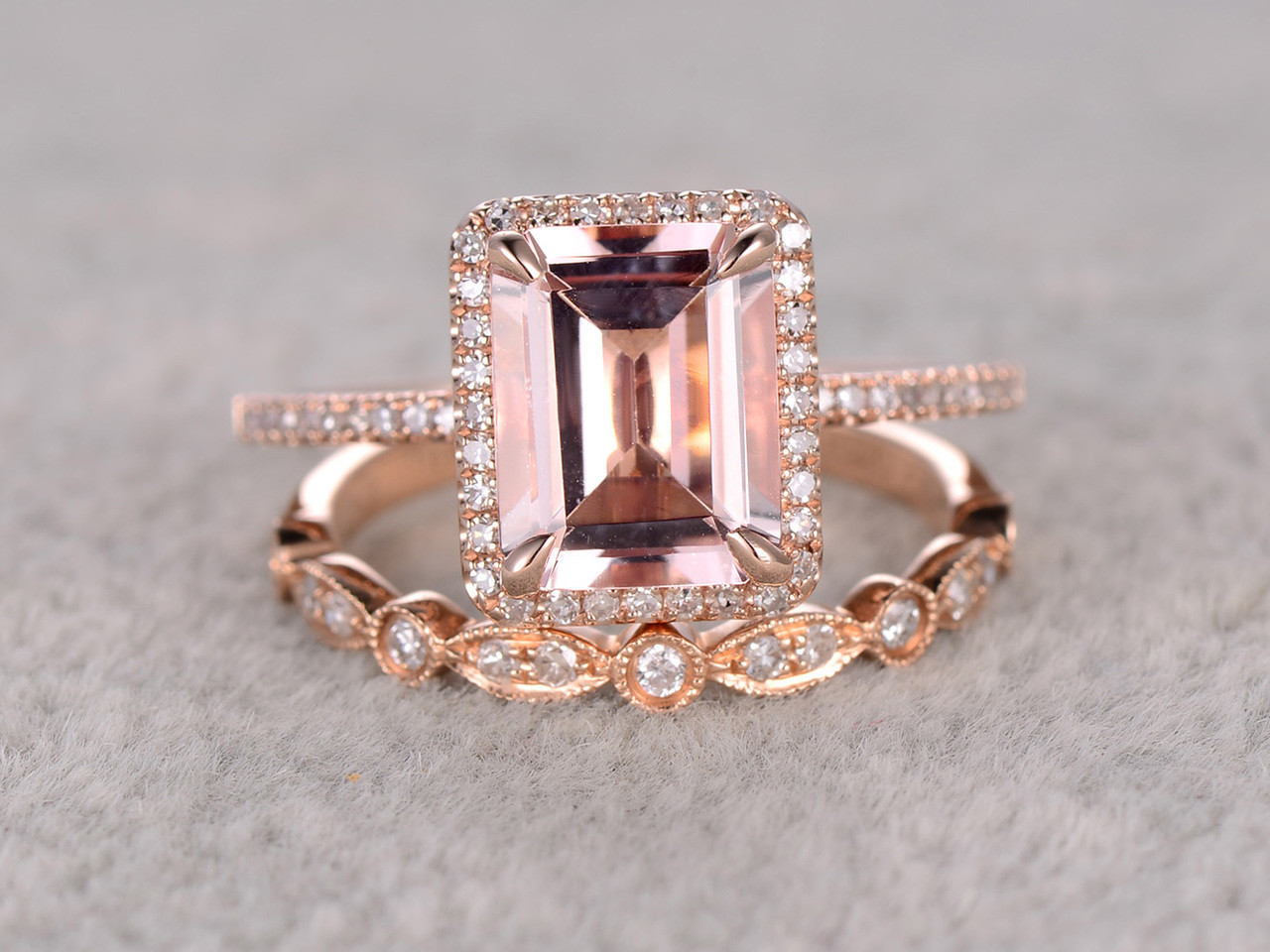 25 To 3 Carat Emerald Cut Morganite Engagement Ring Set Diamond Bridal Ring  14k Rose Gold