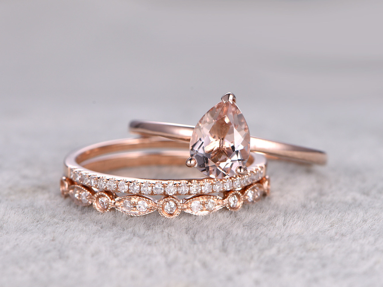 3pcs Pear Shaped Solitaire Morganite Wedding Set Antique Diamond Bridal Ring  14k Rose Gold Art Deco