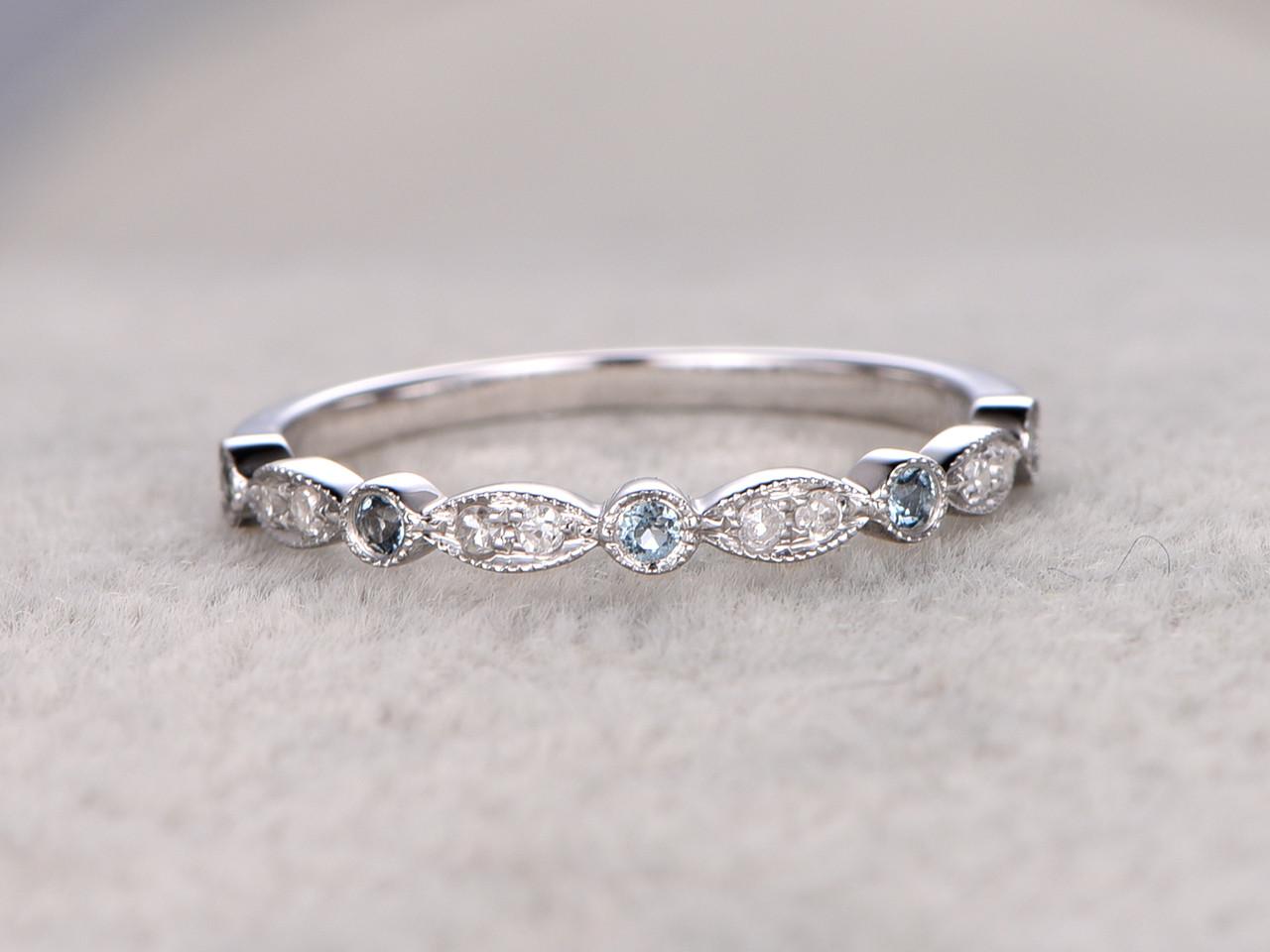 Blue Topaz And Diamond Wedding Rings 14k White Gold