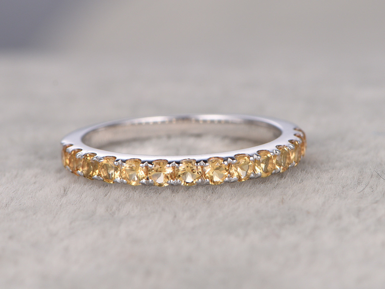 Citrine Wedding Rings For Her 14k White Gold Half Eternity Band Annivery Ring Yellow Gems