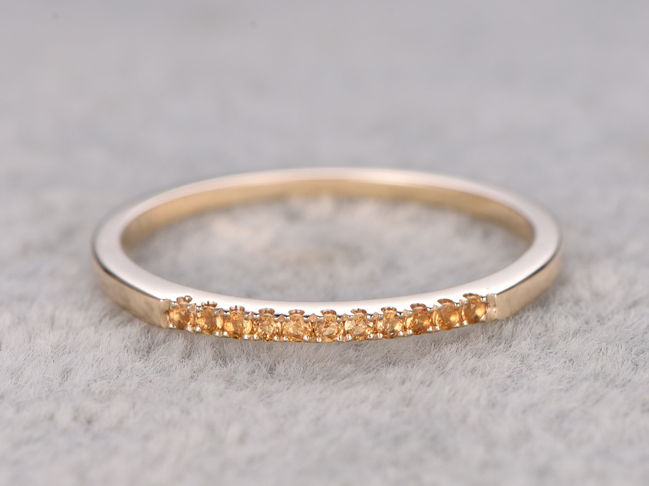 Citrine Wedding Ring 14k Yellow Gold Thin Pave Eternity Band November Birthstone Stacking