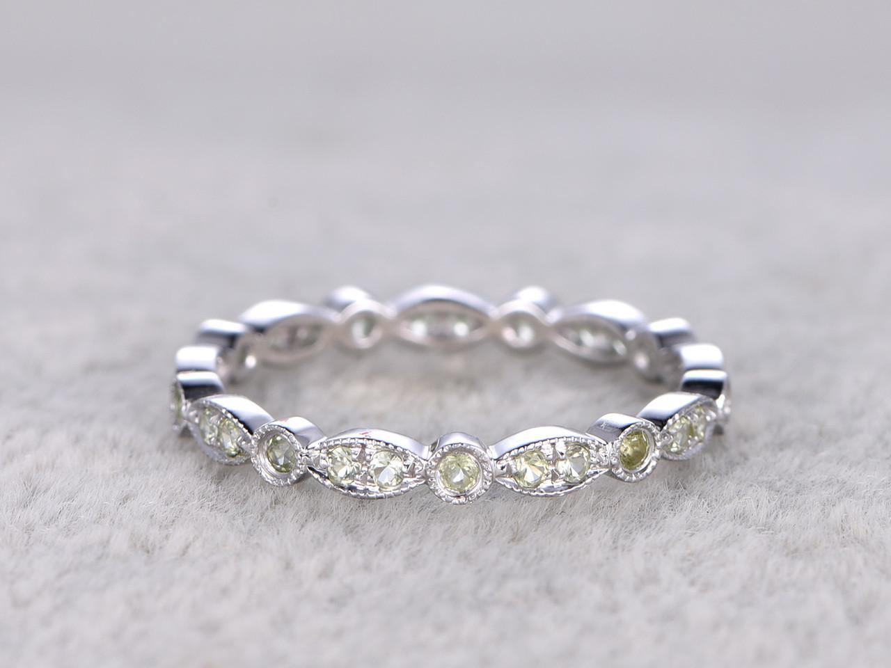 peridot wedding ring 14k white gold antique deco