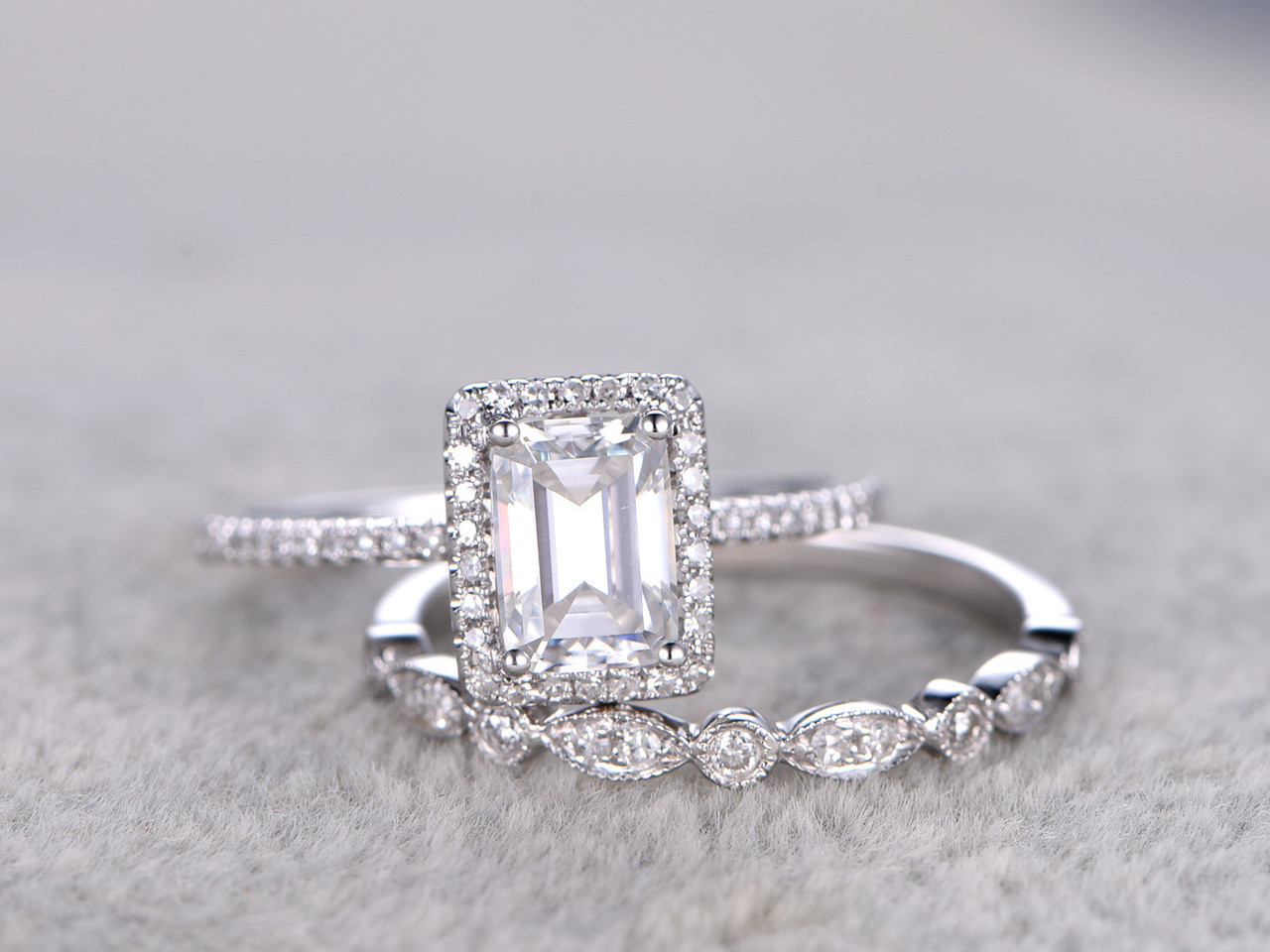 Radiant Cut Moissanite Engagement Rings Sets Diamond Matching Band White  Gold 5x7mm Stone Art Deco Stacking