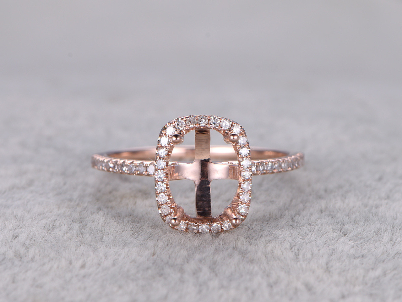 6x8mm diamond engagement ring settings rose gold oval cut for Diamond wedding ring settings