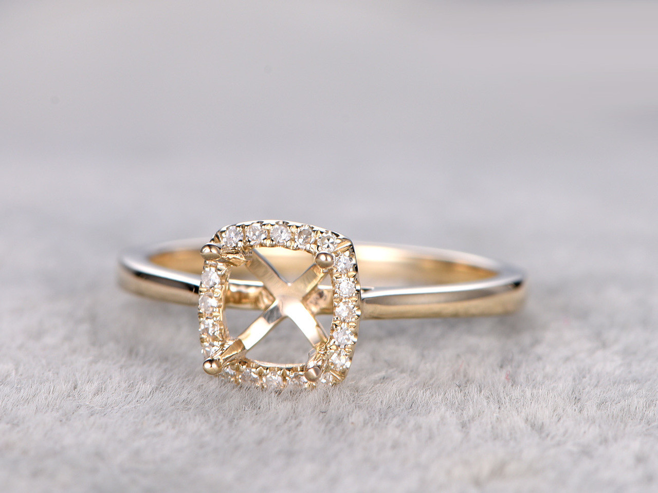 Square Cushion Cut Diamond Engagement Ring