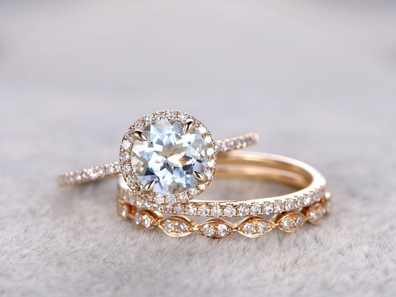3pcs Aquamarine Bridal Ring Set Diamond Wedding Band Yellow Gold Art Deco Thin Stacking Matching 14k 18k