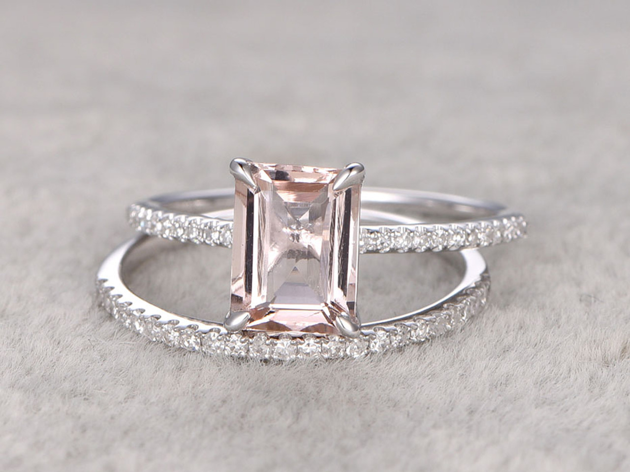morganite engagement ring white gold bridal set