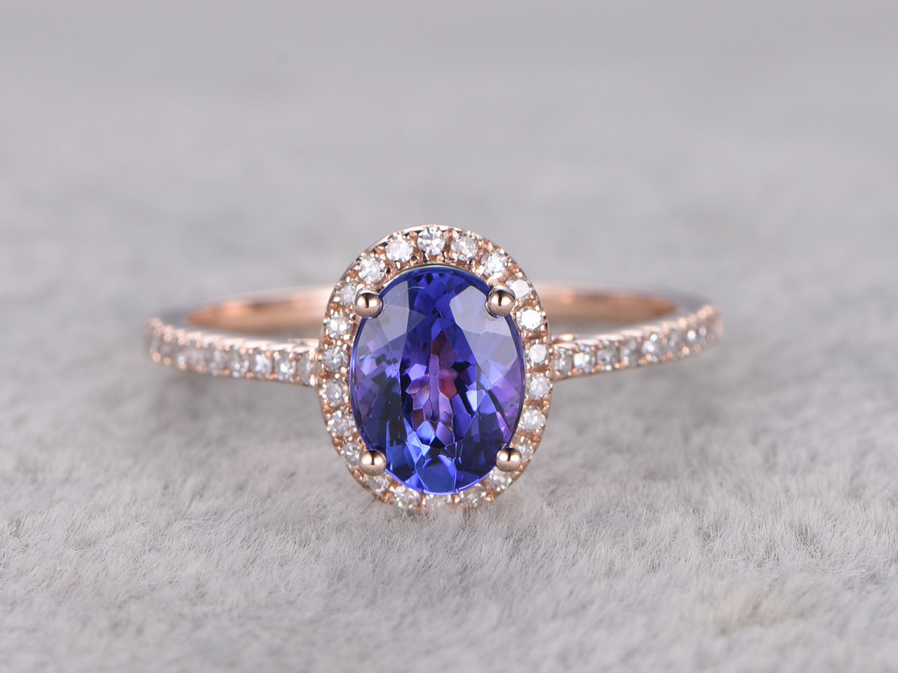 tanzanite and diamond engagement ring rose gold 1 2 carat oval halo promise stacking band 14k. Black Bedroom Furniture Sets. Home Design Ideas