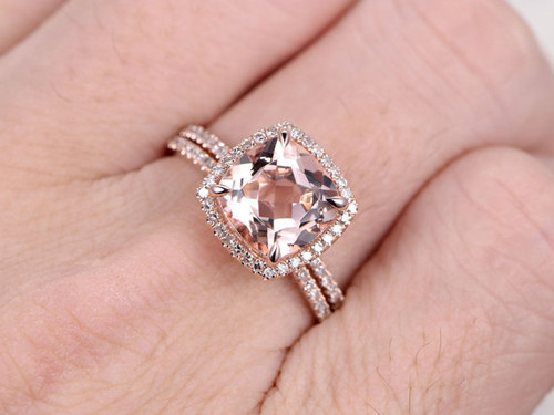 morganite ring set morganite ring set - Rose Gold Wedding Ring Sets