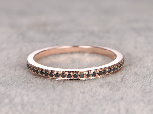 Black Diamond Wedding Ring Solid 14K Rose gold Half Eternity Stacking Matching band,Micro Pave Fine Band