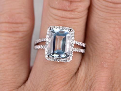 10x12mm emerald cut aquamarine engagement ring diamond wedding ring 14k white gold split shank halo prong - Emerald Cut Wedding Ring